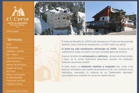 diseño web del hotel el corzo