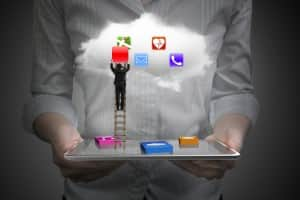 App blocks smart tablet with cloud and businessman climbing ladd