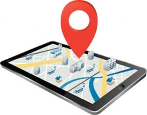 Markers on digital tablet with map Vector