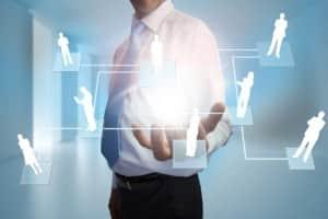 Businessman presenting links between human representations