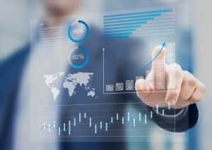 Businessman touching financial dashboard with kpi
