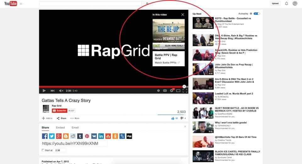 YouTube Cards, llamada a la acción en vídeos