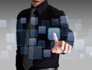 Businessman hand pushing social media and networking on a touch screen interface, Social media and networking concept